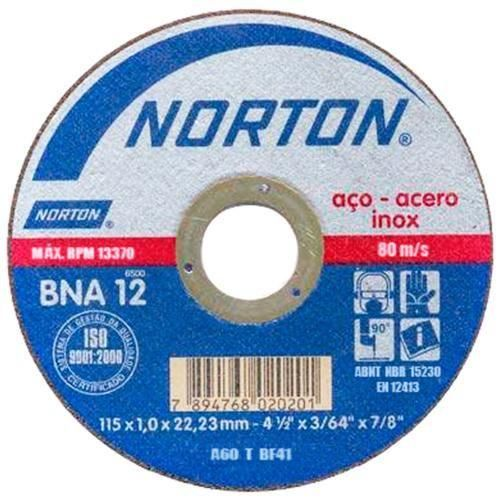 Disco Corte Norton 115×1,0x22,22-BNA12 – 1,0mm