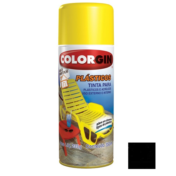 Tinta Spray Efeito Preto Brilhante Colorgin 235gr