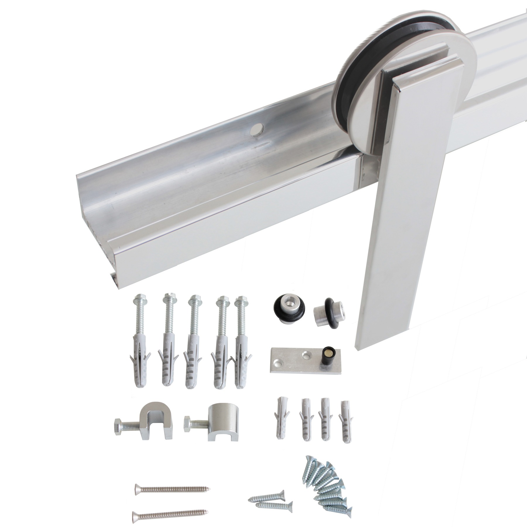 Kit Geris Alumínio Para Porta de Madeira Escovada -H401ae