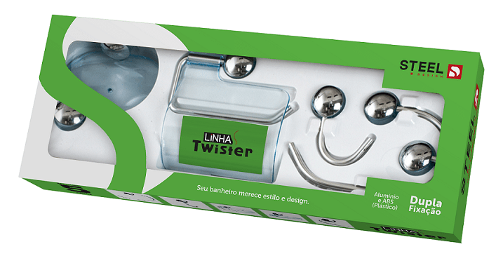 Kit Banheiro Twister Alumínio Cromado 5 Peças – Cod. 15577