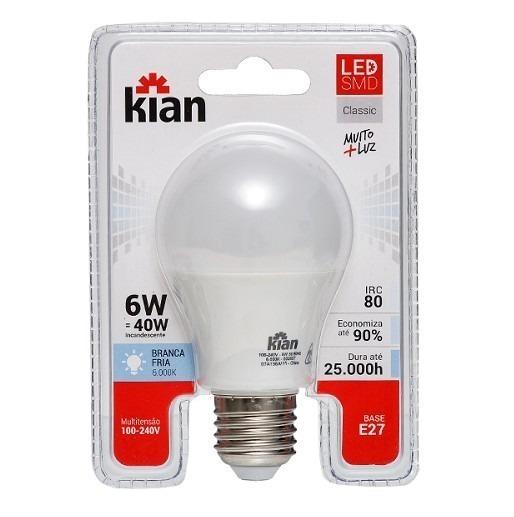 Lampada Led Bulbo 6W Branca Kian – Cod. 23036